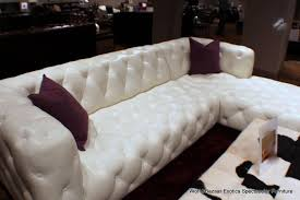 Sectional Bright White Top Grain Leather Tufted LSF Sofa RSF - Jar designs alphonse tufted sofa