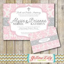 Invitation Cards Baptism Baby Baptism Invitation Twins Girls Diy By Yellowlilydesigns