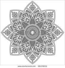 Indian Flower Design Flower Mandala Vintage Decorative Elements Oriental Imagem
