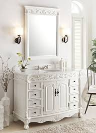 Antique White Florence Bathroom Sink Vanity W Mirror Model BC - 48 bathroom vanity antique white