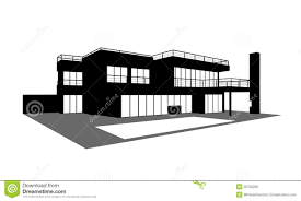 contemporary house with a swimming pool silhouette royalty free