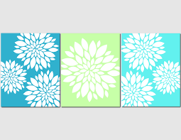 Art On Walls Home Decorating by Aqua Teal Lime Green Wall Art Home Decor Flower Burst Floral
