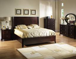 White Bedroom Furniture Grey Walls Rectangle Dark Brown Wooden Headboard With Brown Wooden Bed On