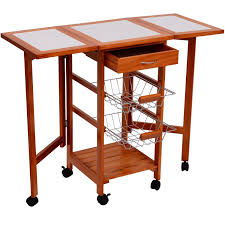 Kitchen Islands Carts by Amazon Com Homcom Portable Rolling Tile Top Drop Leaf Kitchen