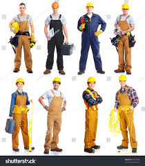 set professional workers people contractor isolated stock photo
