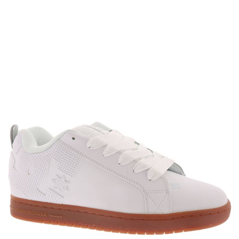 DC Court Graffik 300529 White Leather Athletic Lace Up Skate Shoes