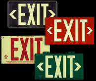 several exit signs