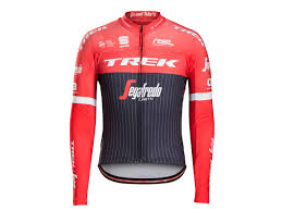 red cycling jacket professional cycling team wear trek bikes