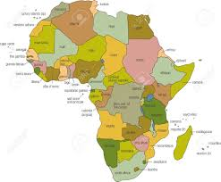Map Of Kenya Africa by A Full Color Map Of Africa With Country Names Called Out Stock