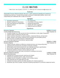 Resume Job Duties Examples Best Extrusion Operator Resume Example Livecareer