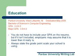 Purdue University Writing Lab Resume and Cover Letter Workshop A     SlidePlayer