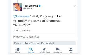 Snapchat Tom Conrad Instagram Kevin Weil