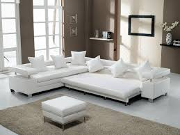 modern ottoman table 3 piece white leather sectional sofa with stainless steel legs and