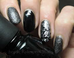 black and silver nail art break rules not nails