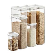 Glass Kitchen Canisters Airtight by Narrow Stackable Canisters With White Lids The Container Store