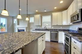 granite countertop finished kitchen cabinet doors beige glass