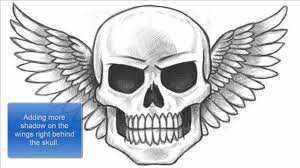 how to draw a skull with wings part 1 of 2 youtube