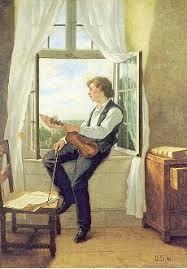 Scholderer Otto Franz von Der Geiger am Fenster Kunstpostkarte - 6641