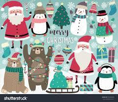 cute christmas elements santa snowman presents stock vector