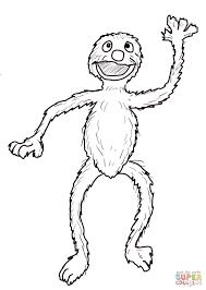 sesame street grover waving coloring page free printable