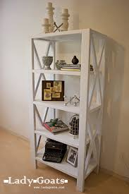 Free Wooden Bookcase Plans by Ana White Rustic X Tall Bookshelf Diy Projects