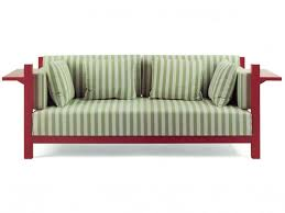 Furniture Green Striped Fabric Sofa With Red Wooden Arms And Legs - Fabric sofa designs
