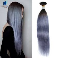 Grey Human Hair Extensions by Tissage Brazilian Straight Hair Weft T1b Grey 16 Inch 18inch 8a 4
