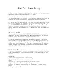 Critique Essay Example  Critique Essay Example via  Critical Book Review Format