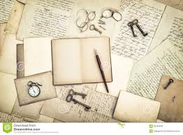 old style writing paper open diary book vintage accessories old letters and postcards royalty free stock photo