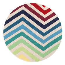 Funky Rugs Rug Culture Chevron Multi Round Rug 200 X 200cm Round Rugs House