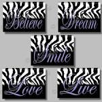 PURPLE Zebra Print Inspirational SMILE Dream by collagebycollins