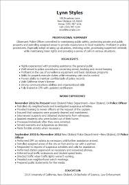 Examples Of Professional Summary For Resume by Professional Police Officer Templates To Showcase Your Talent