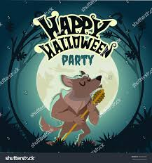 happy halloween design template werewolf hawling stock vector