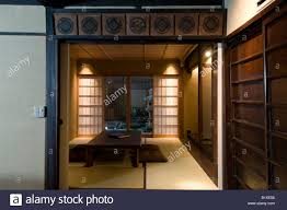 japan traditional home interior living room with sliding doors and