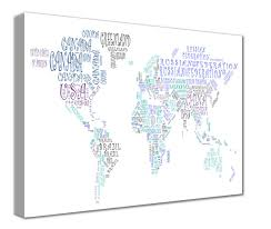 World Map Canvas by Map Canvas Text Art World Map Countries Green And Blue From