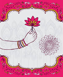 Indian Flower Design India Lotus Flower And Woman Hand Background Vector Illustration