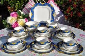 vintage aynsley fine china blue and yellow 21 piece tea set for