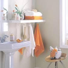 diy bathroom shelving ideas white polished wooden wall mount