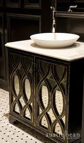 White Marble Distressed Black Bathroom Vanity Set - Black bathroom vanity with vessel sink