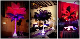 Eiffel Tower Vases Centerpieces Ostrich Feathers Glow Event Decor