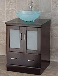 Bathroom Vanity Solid Wood Cabinet Black Granite Top Vessel - Black bathroom vanity with vessel sink