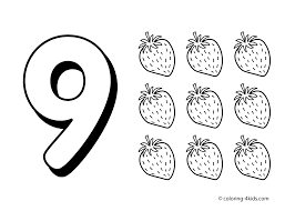 9 numbers coloring pages for kids printable free digits coloring