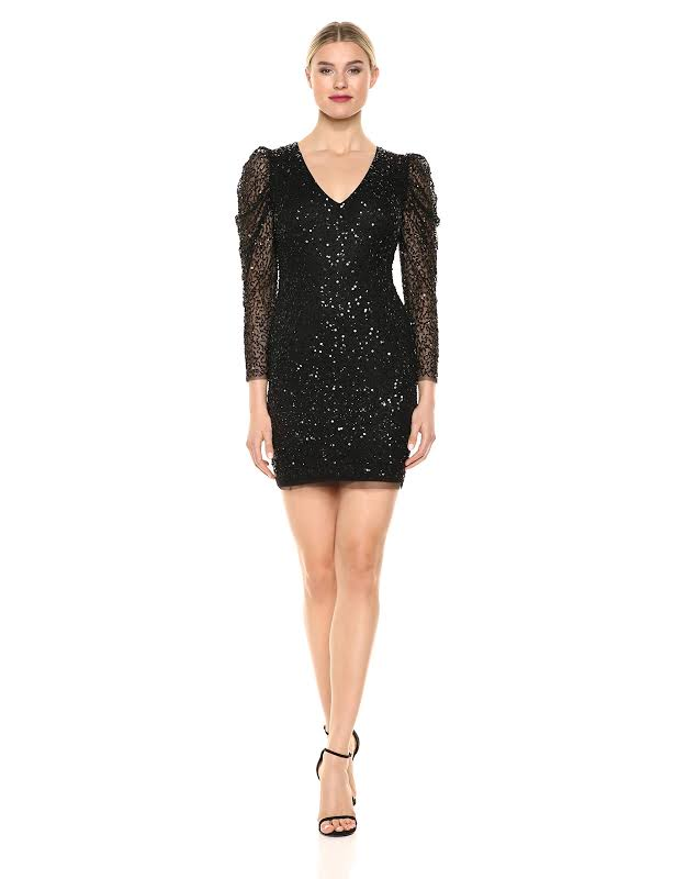 Adrianna Papell Beaded Mini Party Dress Black 14