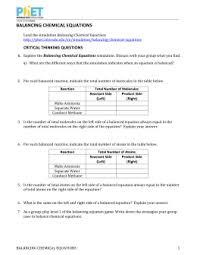 Balancing Chemical Equations studylib net