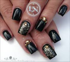 luminous nails glossy black nails with damask stamping acrylic