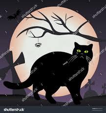 scary moon background black cat graveyard scary halloween vector stock vector 81927079