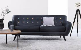 Mid Century Modern Sofas by Mid Century Modern Tufted Bonded Leather Sofa In Color Black With