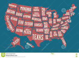 State Map United States by Poster Map United States Of America With State Names Stock Vector