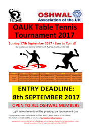 Table Tennis Tournament by Oauk Table Tennis Tournament Oshwal Association Of The U K