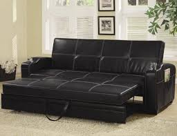 Most Comfortable Sectional by Black Leather Pull Out Sleeper Sofa With Glass Holder On Armrest